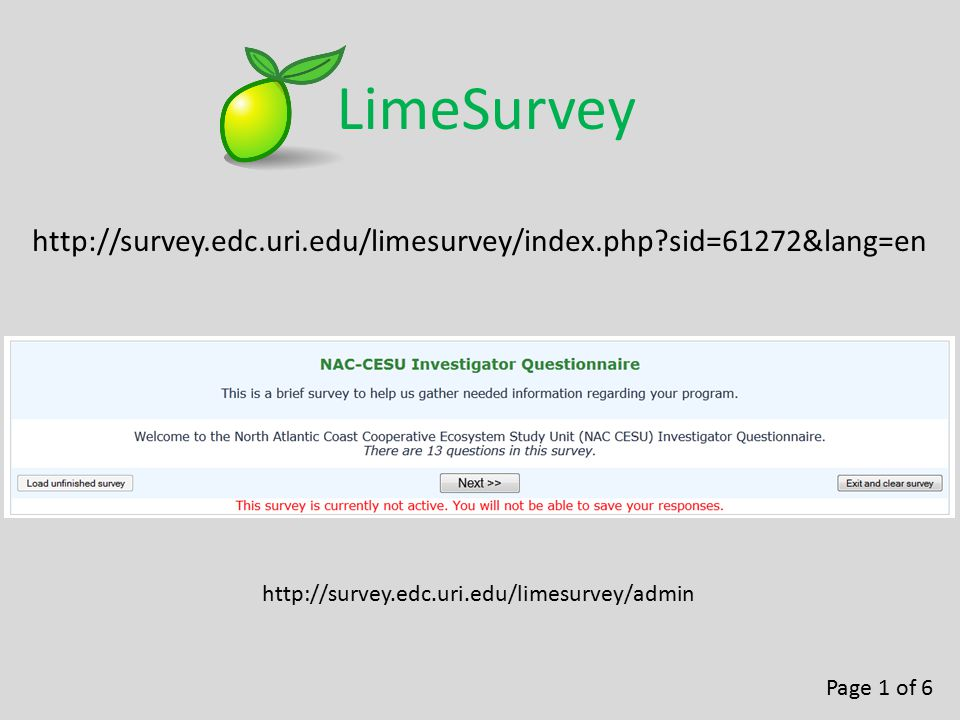 http://survey.edc.uri.edu/limesurvey/index.php?sid=61272&lang=en LimeSurvey Page 1 of 6 http://survey.edc.uri.edu/limesurvey/admin