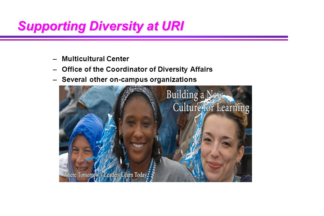 Supporting Diversity at URI –Multicultural Center –Office of the Coordinator of Diversity Affairs –Several other on-campus organizations