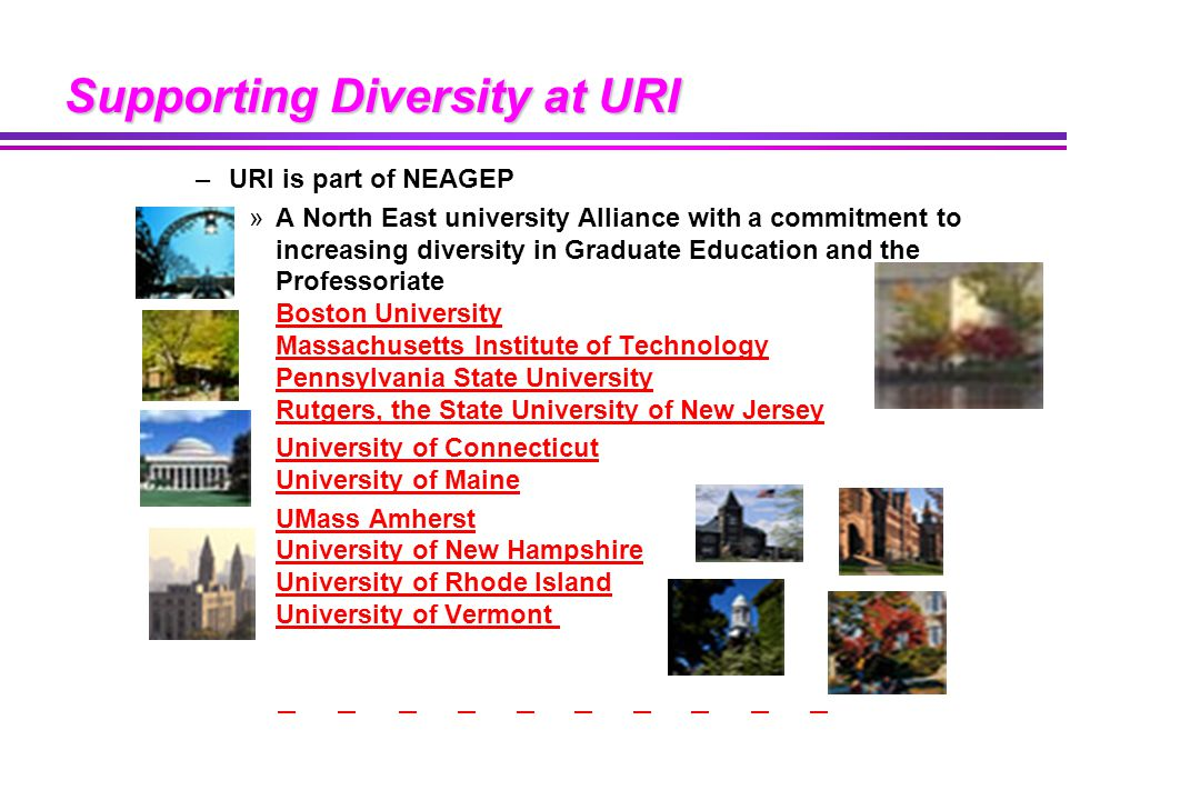 Supporting Diversity at URI –URI is part of NEAGEP »A North East university Alliance with a commitment to increasing diversity in Graduate Education and the Professoriate Boston University Massachusetts Institute of Technology Pennsylvania State University Rutgers, the State University of New Jersey Boston University Massachusetts Institute of Technology Pennsylvania State University Rutgers, the State University of New Jersey University of Connecticut University of MaineUniversity of Connecticut University of Maine UMass Amherst University of New Hampshire University of Rhode Island University of Vermont