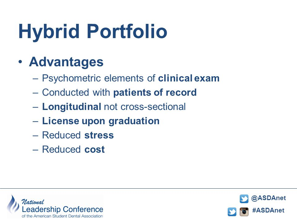 #ASDAnet @ASDAnet Hybrid Portfolio Advantages –Psychometric elements of clinical exam –Conducted with patients of record –Longitudinal not cross-sectional –License upon graduation –Reduced stress –Reduced cost