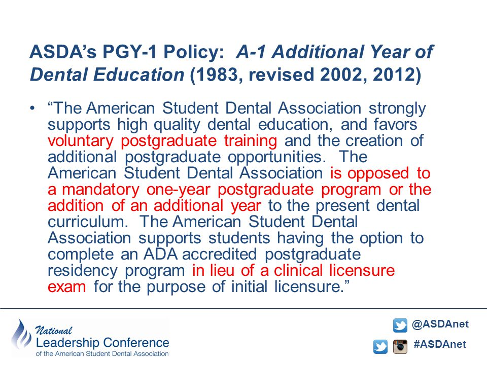 #ASDAnet @ASDAnet ASDA's PGY-1 Policy: A-1 Additional Year of Dental Education (1983, revised 2002, 2012) The American Student Dental Association strongly supports high quality dental education, and favors voluntary postgraduate training and the creation of additional postgraduate opportunities.