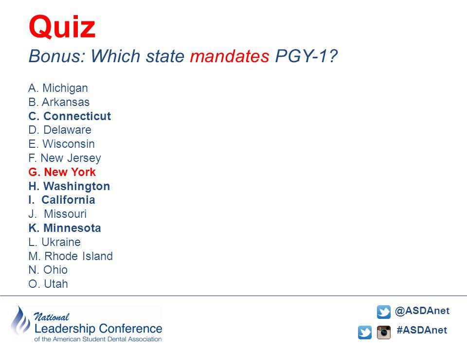 #ASDAnet @ASDAnet Quiz: Bonus: Which state mandates PGY-1.