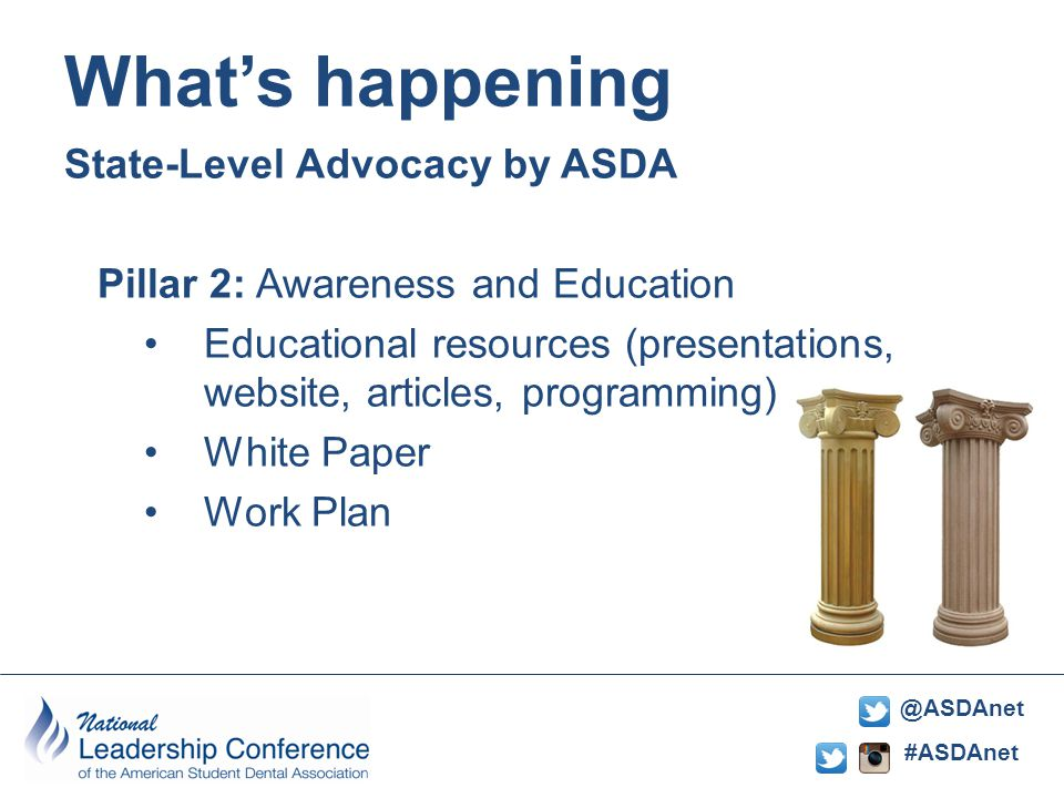 #ASDAnet @ASDAnet State-Level Advocacy by ASDA Pillar 2: Awareness and Education Educational resources (presentations, website, articles, programming) White Paper Work Plan What's happening