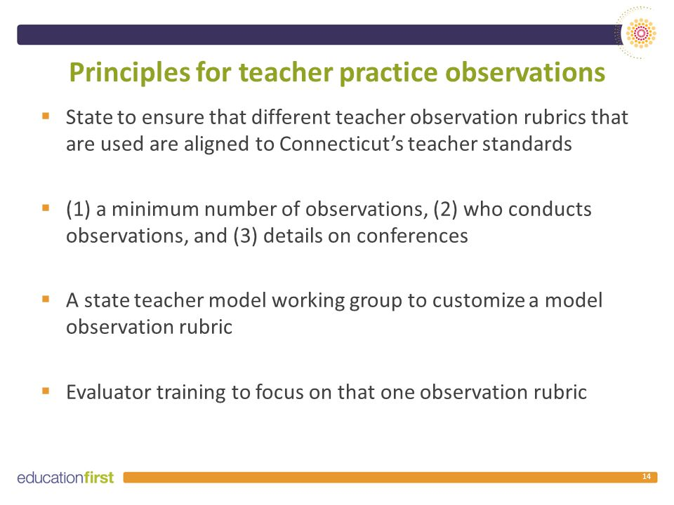 Principles for teacher practice observations  State to ensure that different teacher observation rubrics that are used are aligned to Connecticut's teacher standards  (1) a minimum number of observations, (2) who conducts observations, and (3) details on conferences  A state teacher model working group to customize a model observation rubric  Evaluator training to focus on that one observation rubric 14