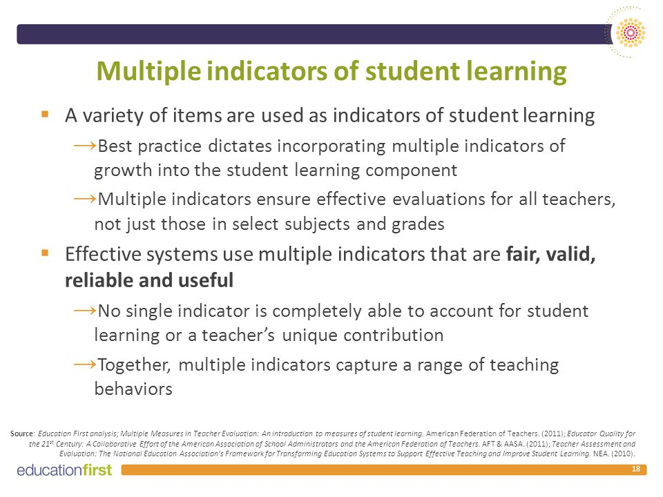Multiple indicators of student learning  A variety of items are used as indicators of student learning → Best practice dictates incorporating multiple indicators of growth into the student learning component → Multiple indicators ensure effective evaluations for all teachers, not just those in select subjects and grades  Effective systems use multiple indicators that are fair, valid, reliable and useful → No single indicator is completely able to account for student learning or a teacher's unique contribution → Together, multiple indicators capture a range of teaching behaviors 18 Source: Education First analysis; Multiple Measures in Teacher Evaluation: An introduction to measures of student learning.