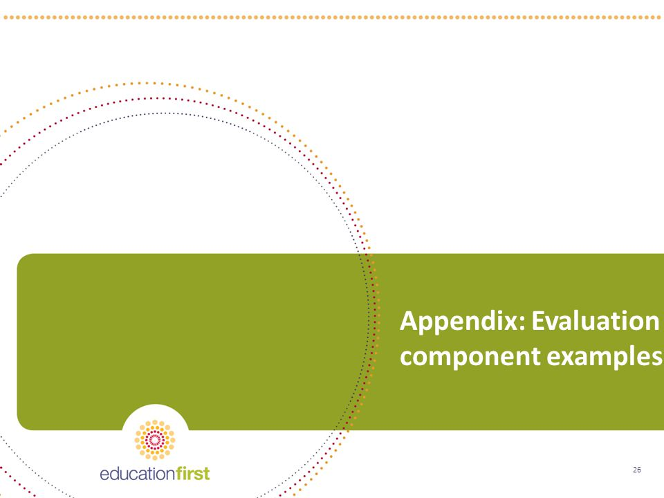 26 Appendix: Evaluation component examples