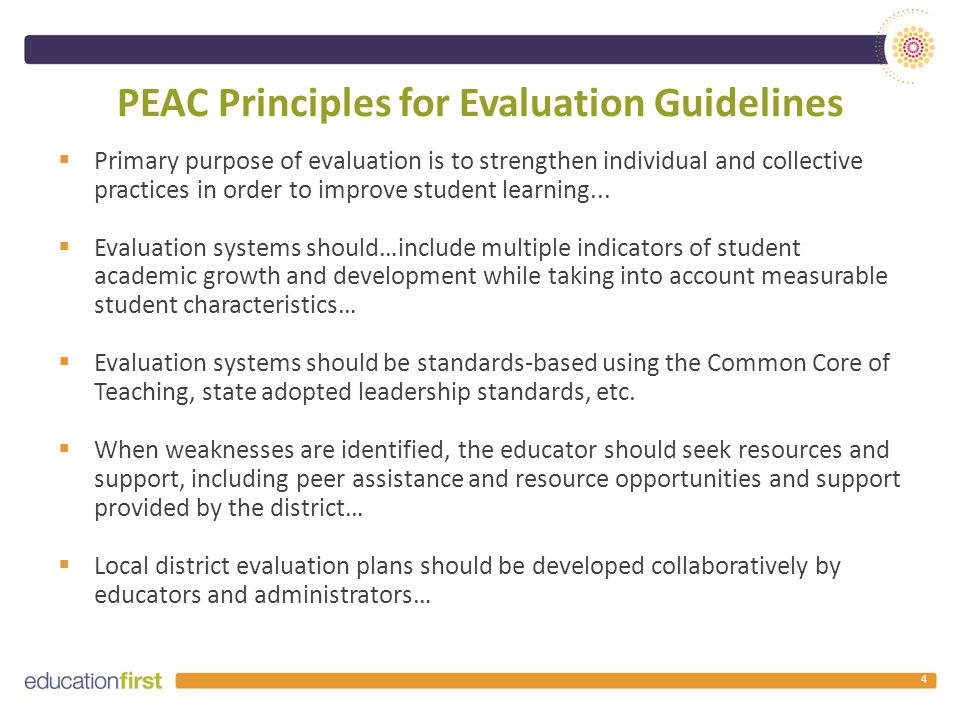 Principles for Evaluation Guidelines (cont.)  Professional learning plans should reflect the needs of individuals and groups of educators identified through the evaluation process…  Evaluation systems should include opportunities for formative, summative and self-evaluation.