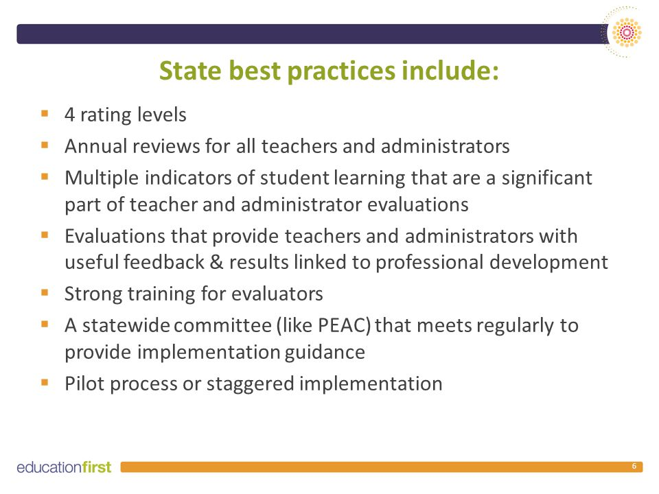 State best practices include:  4 rating levels  Annual reviews for all teachers and administrators  Multiple indicators of student learning that are a significant part of teacher and administrator evaluations  Evaluations that provide teachers and administrators with useful feedback & results linked to professional development  Strong training for evaluators  A statewide committee (like PEAC) that meets regularly to provide implementation guidance  Pilot process or staggered implementation 6