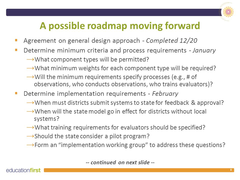 A possible roadmap moving forward  Agreement on general design approach - Completed 12/20  Determine minimum criteria and process requirements - January → What component types will be permitted.