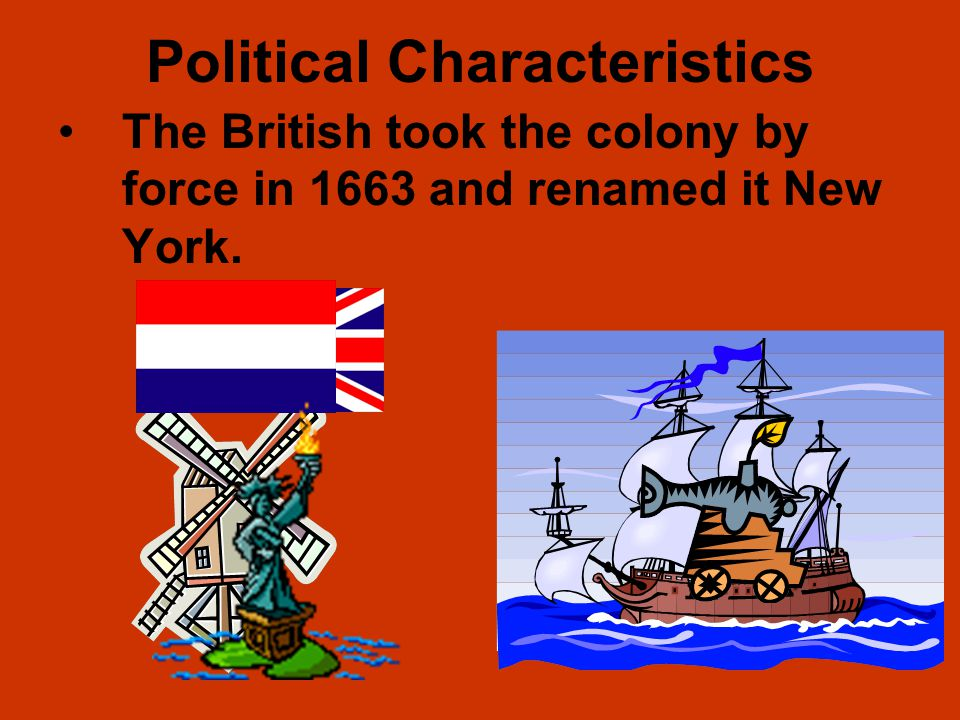 Political Characteristics New Netherland established by the Dutch in 1650 along the Hudson River. Established the town of New Amsterdam, but did not d