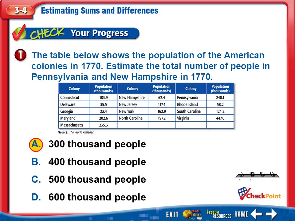 1.A 2.B 3.C 4.D Example 1 The table below shows the population of the American colonies in 1770. Estimate the total number of people in Pennsylvania a