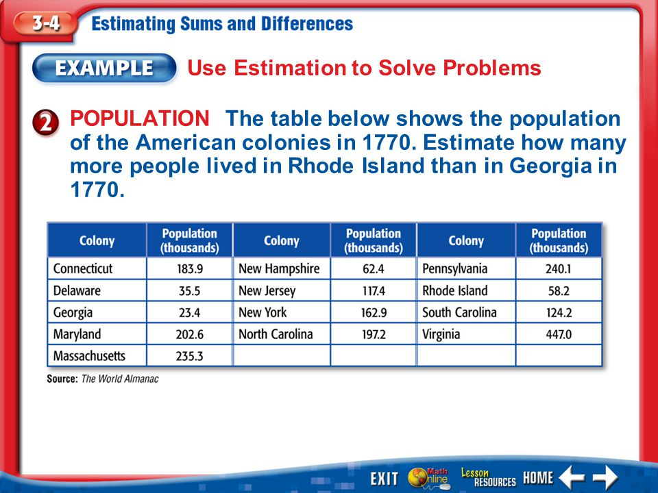 Example 2 Use Estimation to Solve Problems Answer: There were about 40 thousand more people in Rhode Island than in Georgia.