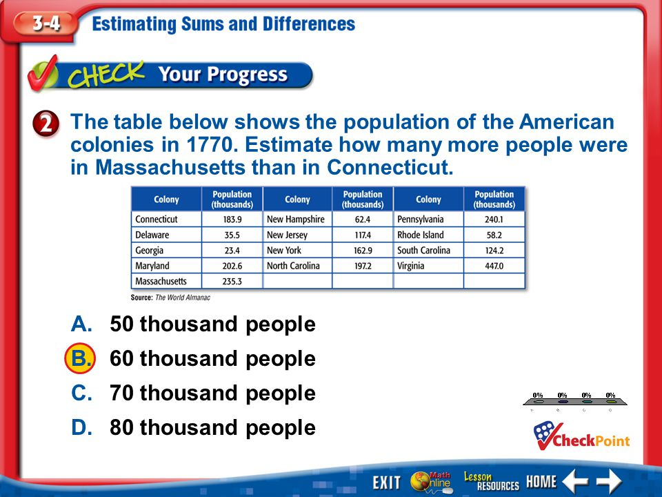 1.A 2.B 3.C 4.D Example 2 The table below shows the population of the American colonies in 1770. Estimate how many more people were in Massachusetts t