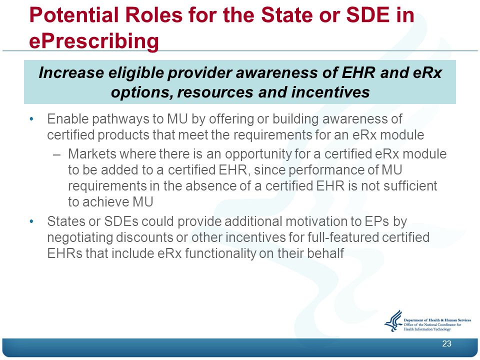Potential Roles for the State or SDE in ePrescribing 23 Increase eligible provider awareness of EHR and eRx options, resources and incentives Enable pathways to MU by offering or building awareness of certified products that meet the requirements for an eRx module –Markets where there is an opportunity for a certified eRx module to be added to a certified EHR, since performance of MU requirements in the absence of a certified EHR is not sufficient to achieve MU States or SDEs could provide additional motivation to EPs by negotiating discounts or other incentives for full-featured certified EHRs that include eRx functionality on their behalf