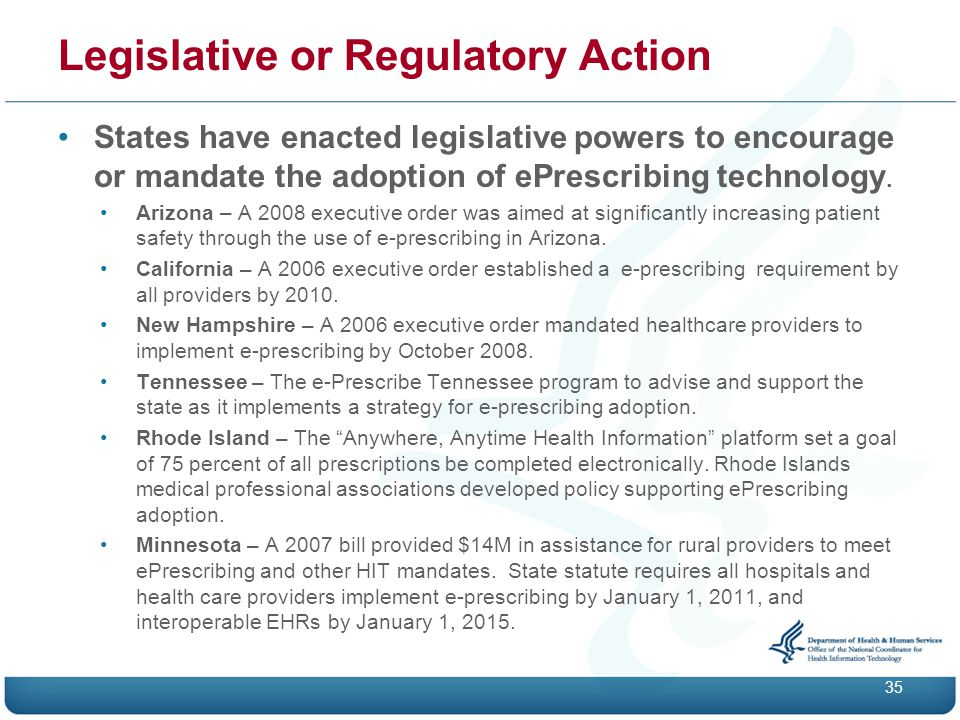 States have enacted legislative powers to encourage or mandate the adoption of ePrescribing technology.