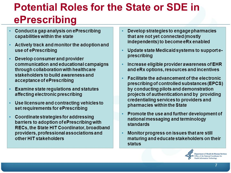 Potential Roles for the State or SDE in ePrescribing 7 Conduct a gap analysis on ePrescribing capabilities within the state Actively track and monitor the adoption and use of ePrescribing Develop consumer and provider communication and educational campaigns through collaboration with healthcare stakeholders to build awareness and acceptance of ePrescribing Examine state regulations and statutes affecting electronic prescribing Use licensure and contracting vehicles to set requirements for ePrescribing Coordinate strategies for addressing barriers to adoption of ePrescribing with RECs, the State HIT Coordinator, broadband providers, professional associations and other HIT stakeholders Develop strategies to engage pharmacies that are not yet connected (mostly independents) to become eRx enabled Update state Medicaid systems to support e- prescribing Increase eligible provider awareness of EHR and eRx options, resources and incentives Facilitate the advancement of the electronic prescribing of controlled substances (EPCS) by conducting pilots and demonstration projects of authentication and by providing credentialing services to providers and pharmacies within the State Promote the use and further development of national messaging and terminology standards Monitor progress on issues that are still maturing and educate stakeholders on their status