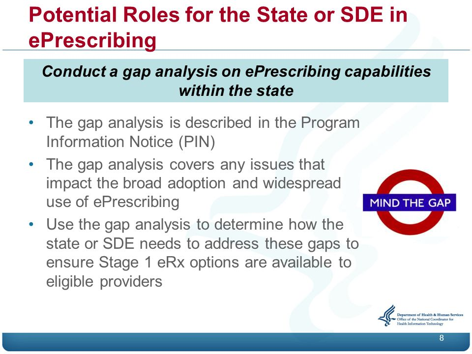 Potential Roles for the State or SDE in ePrescribing 8 Conduct a gap analysis on ePrescribing capabilities within the state The gap analysis is described in the Program Information Notice (PIN) The gap analysis covers any issues that impact the broad adoption and widespread use of ePrescribing Use the gap analysis to determine how the state or SDE needs to address these gaps to ensure Stage 1 eRx options are available to eligible providers