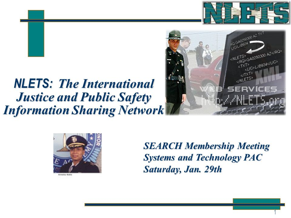 1 NLETS: The International Justice and Public Safety Information Sharing Network SEARCH Membership Meeting Systems and Technology PAC Saturday, Jan.