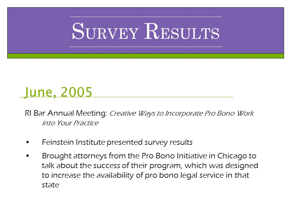 _____________________________________________________________________________________________ S URVEY R ESULTS ______________________________________________________________________________________________ June, 2005 RI Bar Annual Meeting: Creative Ways to Incorporate Pro Bono Work into Your Practice Feinstein Institute presented survey results Brought attorneys from the Pro Bono Initiative in Chicago to talk about the success of their program, which was designed to increase the availability of pro bono legal service in that state