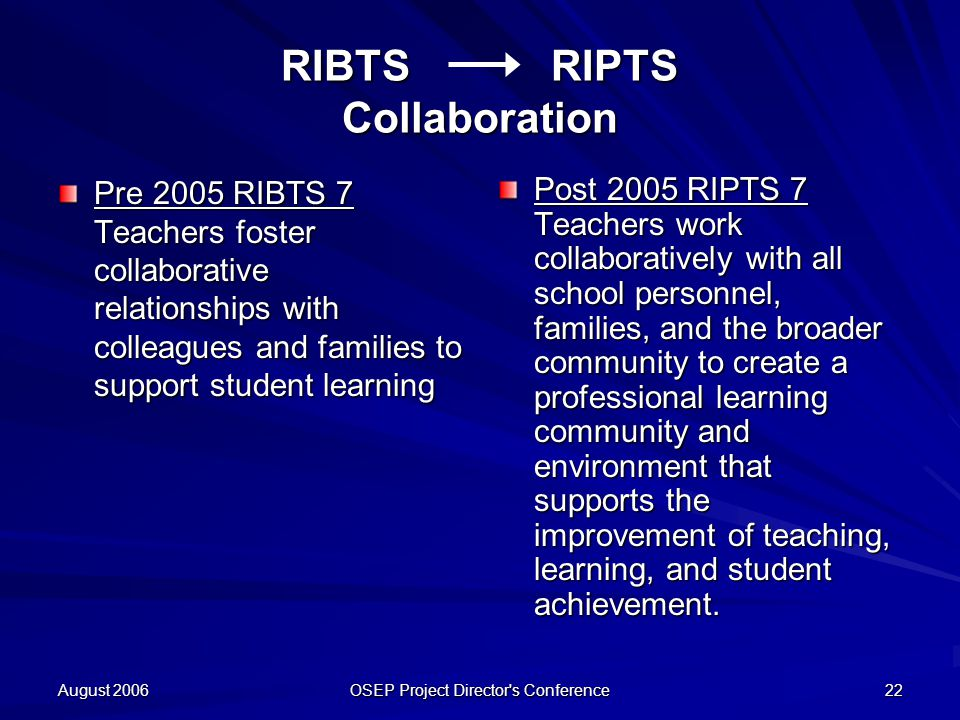 August 2006 OSEP Project Director s Conference 22 RIBTS RIPTS Collaboration Pre 2005 RIBTS 7 Teachers foster collaborative relationships with colleagues and families to support student learning Post 2005 RIPTS 7 Teachers work collaboratively with all school personnel, families, and the broader community to create a professional learning community and environment that supports the improvement of teaching, learning, and student achievement.