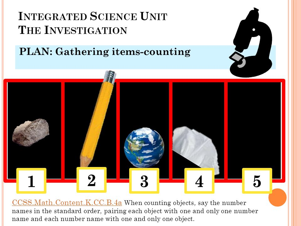 I NTEGRATED S CIENCE U NIT T HE I NVESTIGATION PLAN: Gathering items-counting 135 2 4 CCSS.Math.Content.K.CC.B.4aCCSS.Math.Content.K.CC.B.4a When counting objects, say the number names in the standard order, pairing each object with one and only one number name and each number name with one and only one object.