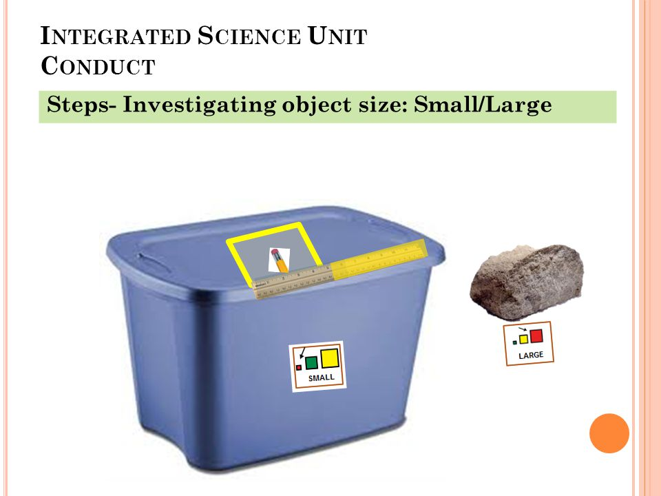 I NTEGRATED S CIENCE U NIT C ONDUCT Steps- Investigating object size: Small/Large