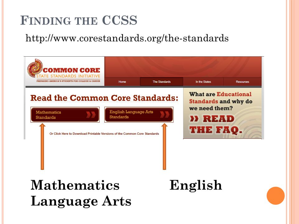 F INDING THE CCSS http://www.corestandards.org/the-standards Mathematics English Language Arts