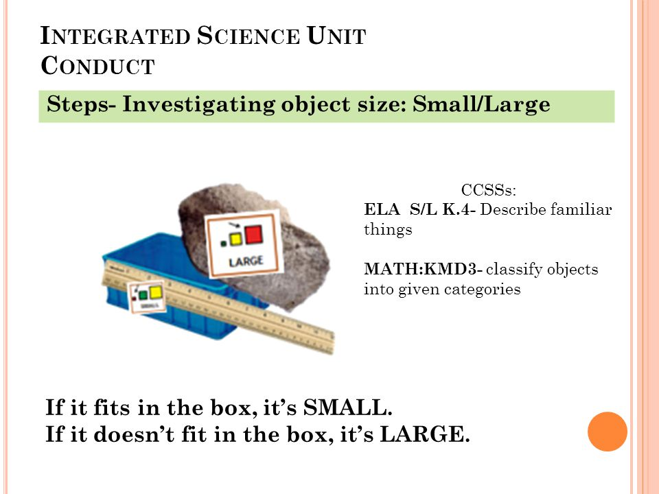 I NTEGRATED S CIENCE U NIT C ONDUCT Steps- Investigating object size: Small/Large If it fits in the box, it's SMALL.