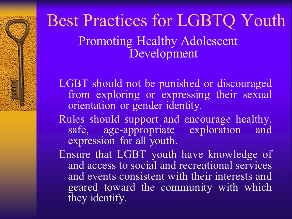 Best Practices for LGBTQ Youth Promoting Healthy Adolescent Development LGBT should not be punished or discouraged from exploring or expressing their sexual orientation or gender identity.
