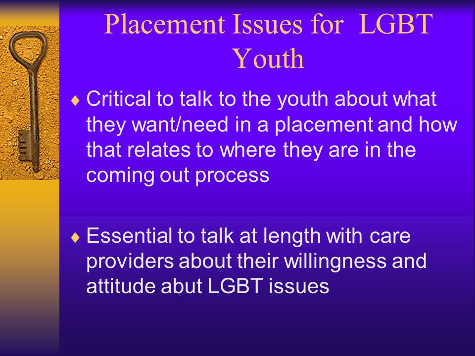 Placement Issues for LGBT Youth  Critical to talk to the youth about what they want/need in a placement and how that relates to where they are in the coming out process  Essential to talk at length with care providers about their willingness and attitude abut LGBT issues