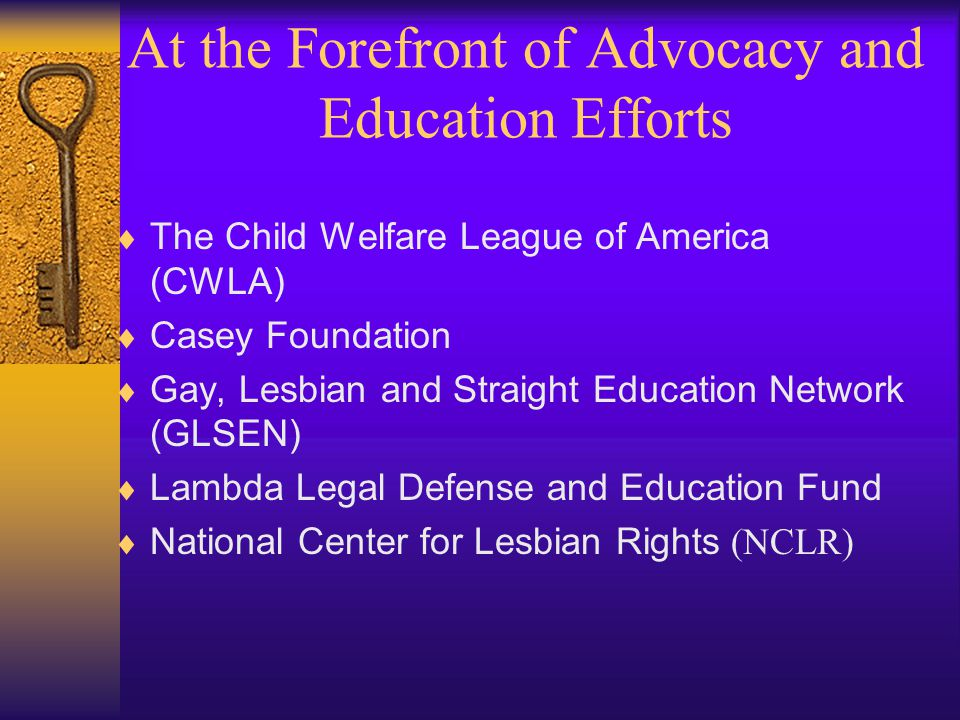 At the Forefront of Advocacy and Education Efforts  The Child Welfare League of America (CWLA)  Casey Foundation  Gay, Lesbian and Straight Education Network (GLSEN)  Lambda Legal Defense and Education Fund  National Center for Lesbian Rights (NCLR)