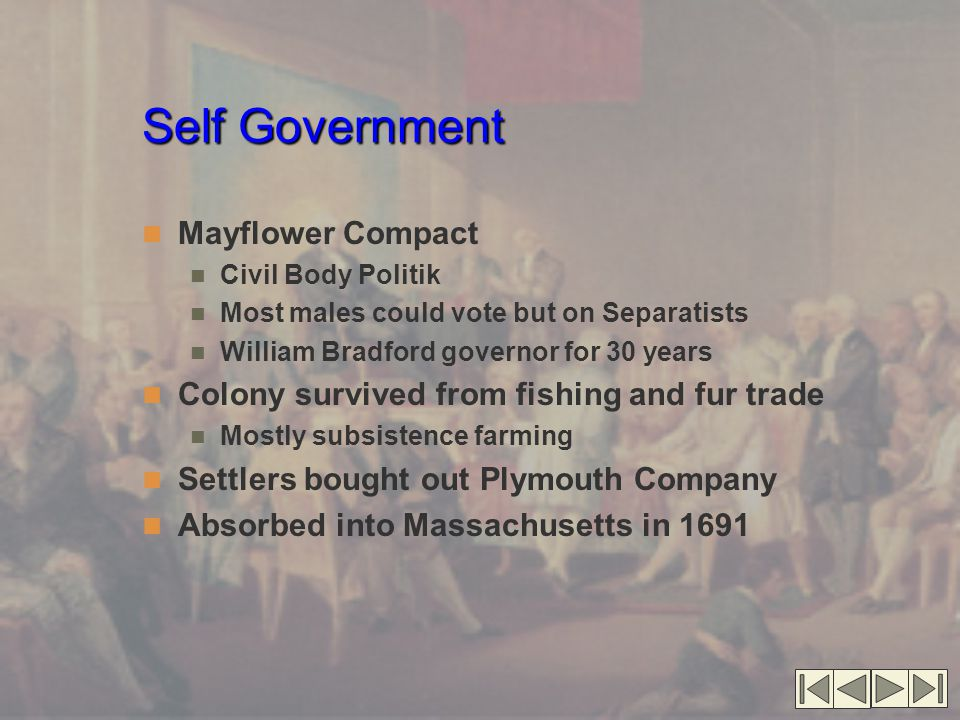 Self Government Mayflower Compact Civil Body Politik Most males could vote but on Separatists William Bradford governor for 30 years Colony survived f