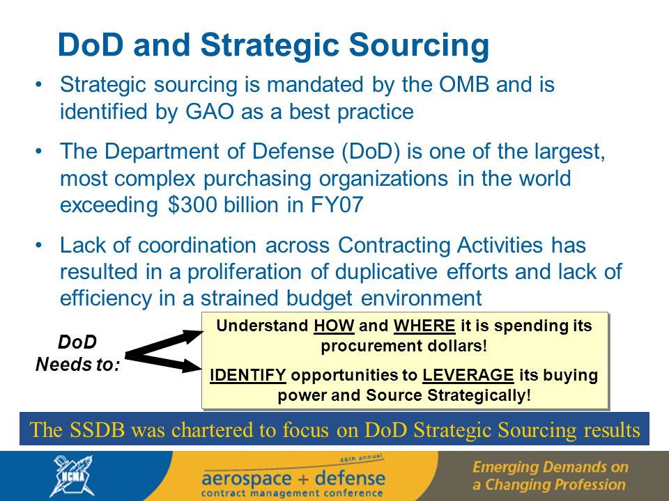 5 5 Strategic Sourcing IS NOT Just… Strategic Sourcing IS… A PROCESS for systematically analyzing and developing optimal strategies for buying goods and services DATA DRIVEN – fact-based analysis to drive decision making rather than just hunches A HOLISTIC process that addresses customer needs, market conditions, organizational goals and objectives, and other environmental factors Based on MARKET INTELLIGENCE and takes into account small business capabilities A COLLABORATIVE, CROSS-FUNCTIONAL approach About SUPPORTING AN ORGANIZATION'S MISSION through procured goods and services A PROCESS for systematically analyzing and developing optimal strategies for buying goods and services DATA DRIVEN – fact-based analysis to drive decision making rather than just hunches A HOLISTIC process that addresses customer needs, market conditions, organizational goals and objectives, and other environmental factors Based on MARKET INTELLIGENCE and takes into account small business capabilities A COLLABORATIVE, CROSS-FUNCTIONAL approach About SUPPORTING AN ORGANIZATION'S MISSION through procured goods and services The resulting contract Leveraged buying Contract consolidation/bundling Contracting and procurement About saving money The resulting contract Leveraged buying Contract consolidation/bundling Contracting and procurement About saving money DoD and Strategic Sourcing