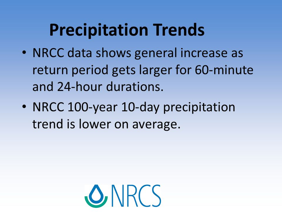 Precipitation Trends NRCC data shows general increase as return period gets larger for 60-minute and 24-hour durations. NRCC 100-year 10-day precipita