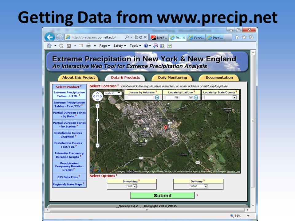Getting Data from www.precip.net