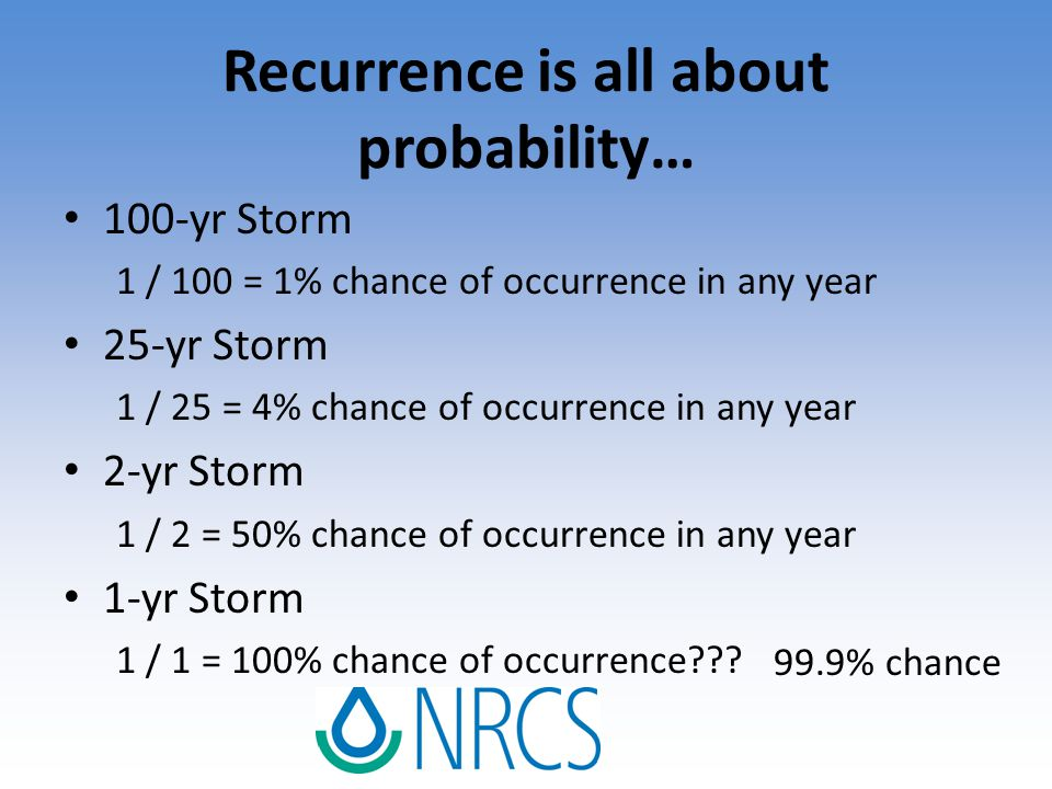 Recurrence is all about probability… 100-yr Storm 1 / 100 = 1% chance of occurrence in any year 25-yr Storm 1 / 25 = 4% chance of occurrence in any ye