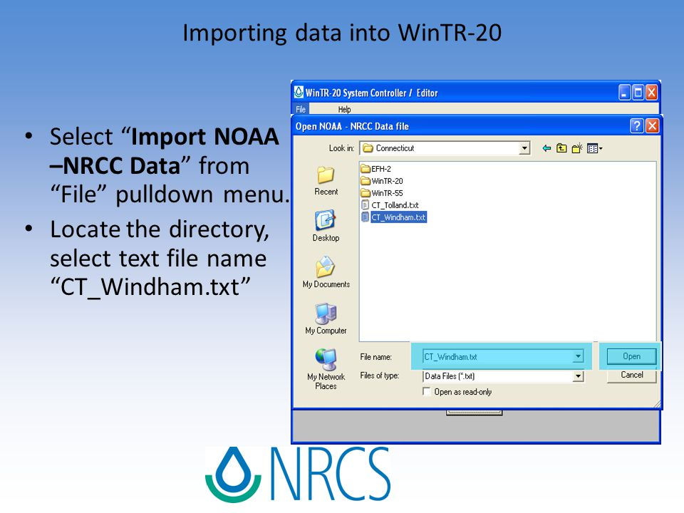 """Select """"Import NOAA –NRCC Data"""" from """"File"""" pulldown menu. Locate the directory, select text file name """"CT_Windham.txt"""""""