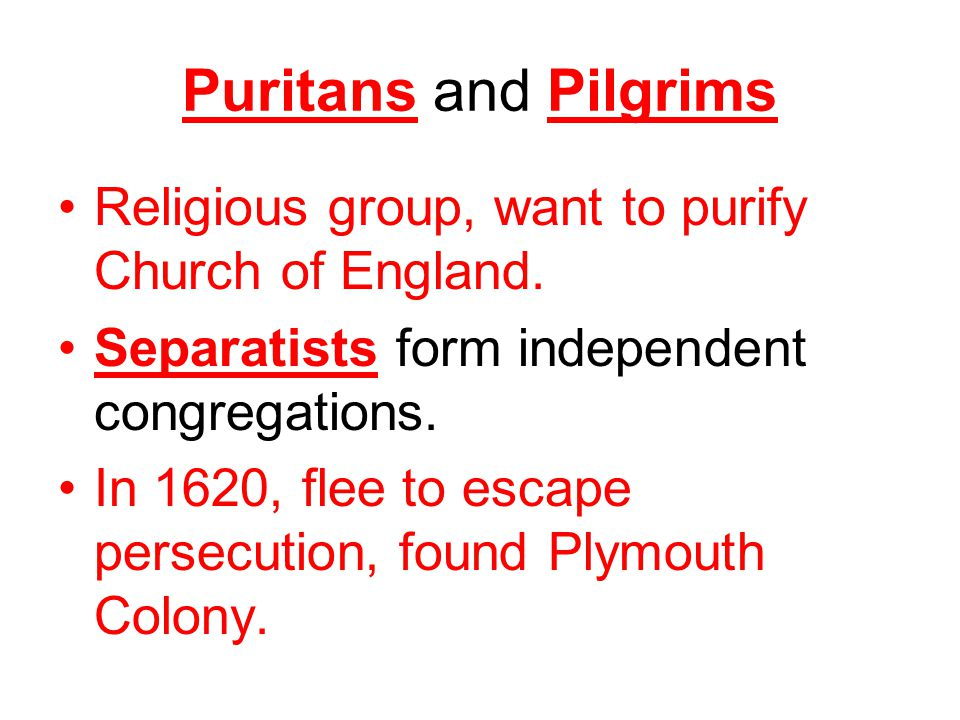 Puritans and Pilgrims Religious group, want to purify Church of England.