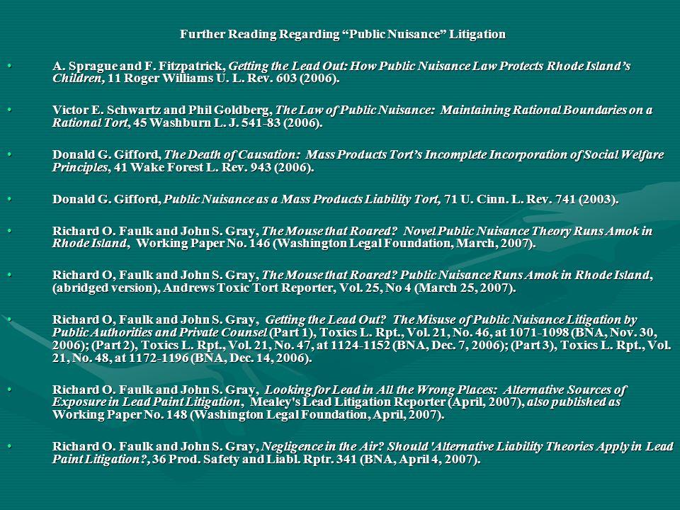 Further Reading Regarding Public Nuisance Litigation Further Reading Regarding Public Nuisance Litigation A.