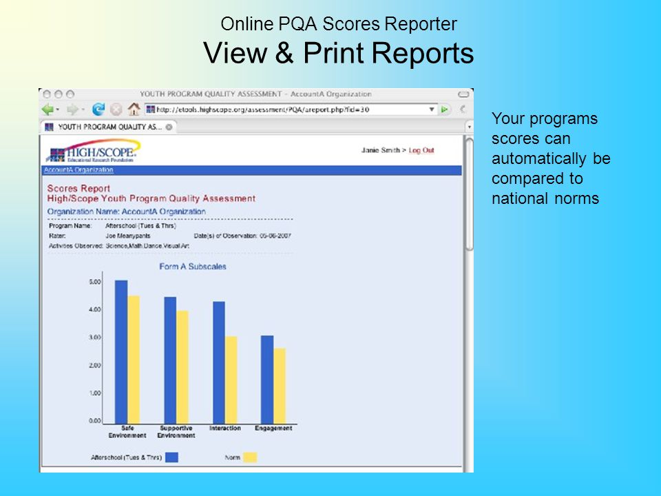 Online PQA Scores Reporter View & Print Reports Your programs scores can automatically be compared to national norms
