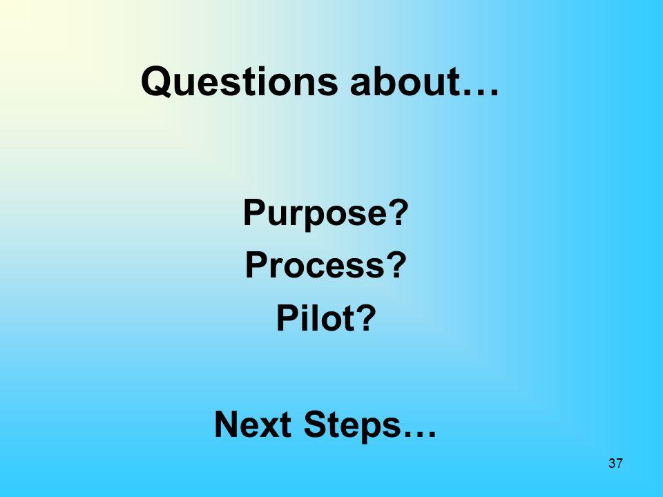 Questions about… Purpose? Process? Pilot? Next Steps… 37