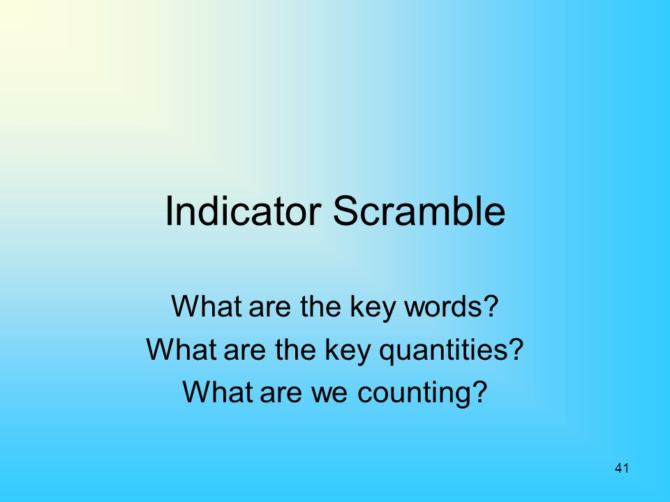 41 Indicator Scramble What are the key words? What are the key quantities? What are we counting?