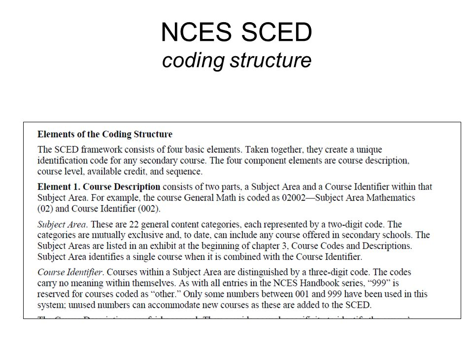 NCES SCED coding structure