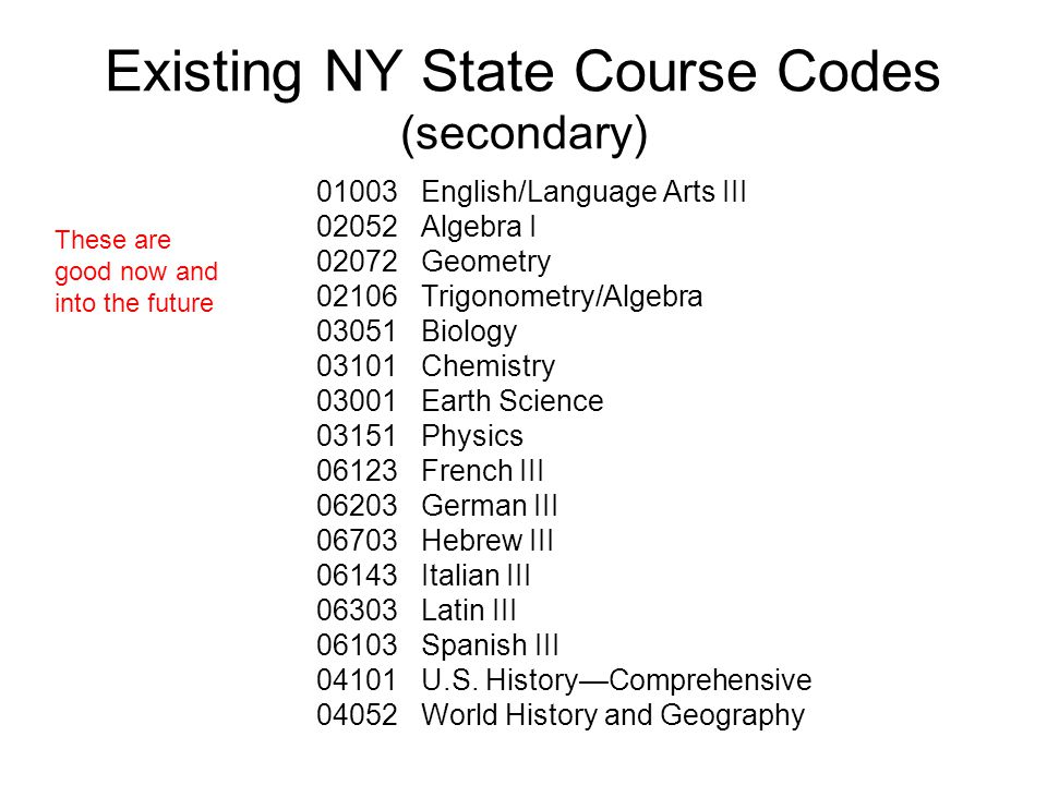 Existing NY State Course Codes (secondary) 01003 English/Language Arts III 02052 Algebra I 02072 Geometry 02106 Trigonometry/Algebra 03051 Biology 03101 Chemistry 03001 Earth Science 03151 Physics 06123 French III 06203 German III 06703 Hebrew III 06143 Italian III 06303 Latin III 06103 Spanish III 04101 U.S.