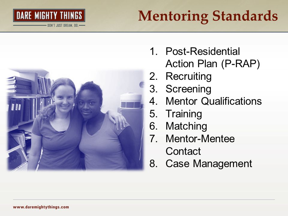 Mentoring Standards 1.Post-Residential Action Plan (P-RAP) 2.Recruiting 3.Screening 4.Mentor Qualifications 5.Training 6.Matching 7.Mentor-Mentee Contact 8.Case Management
