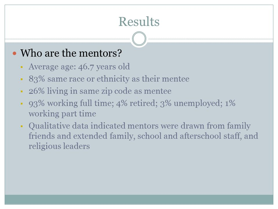 Results Who are the mentors.