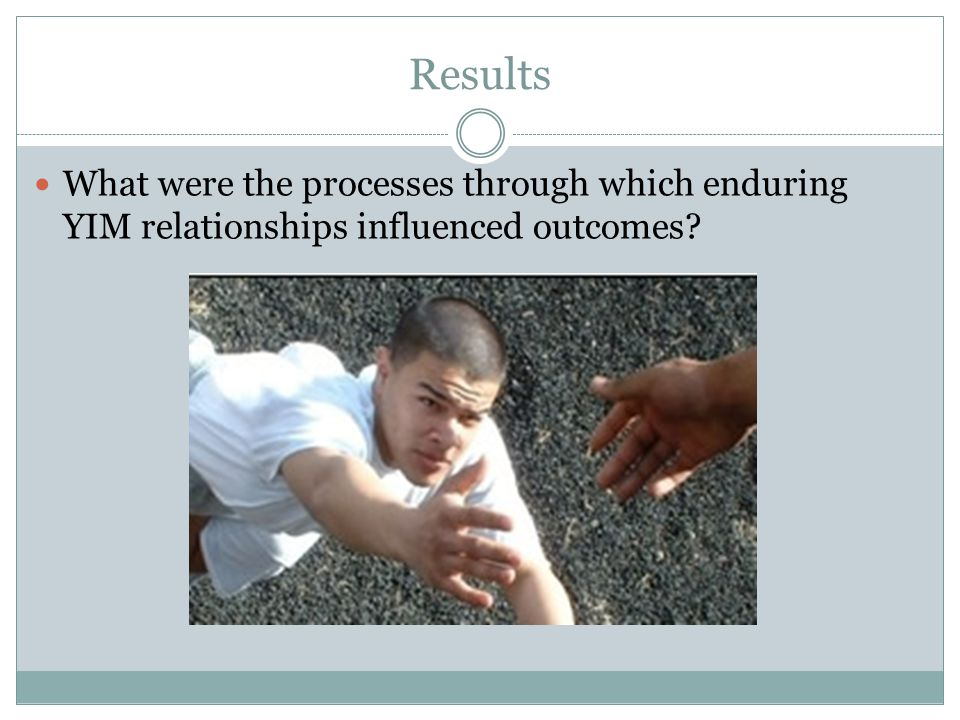 Results What were the processes through which enduring YIM relationships influenced outcomes