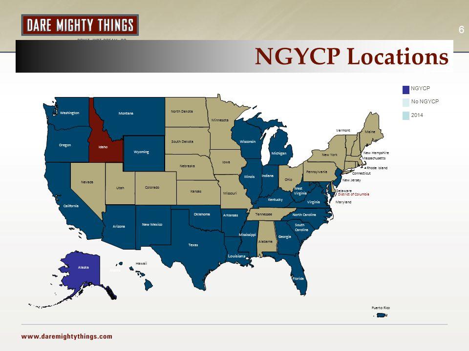 NGYCP Locations 6 Alaska Hawaii Puerto Rico Alaska NGYCP No NGYCP 2014