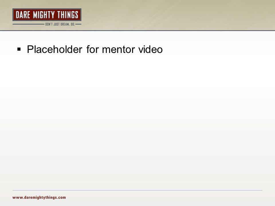  Placeholder for mentor video