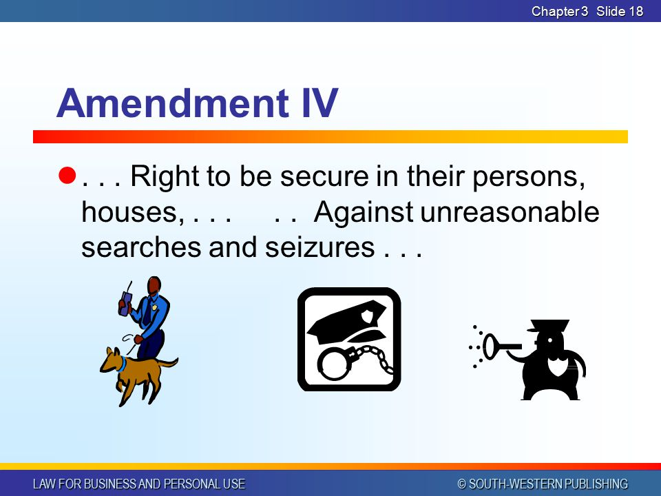 LAW FOR BUSINESS AND PERSONAL USE © SOUTH-WESTERN PUBLISHING Chapter 3Slide 17 Amendment III No soldier shall, in time of peace be quartered in any ho